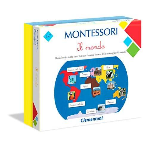 Clementoni 16210, Montessori, Il Mondo, Gioco Montessori 4 anni, Gioco Educativo Metodo Montessoriano (Versione in Italiano), Gioco Mondo Bambini