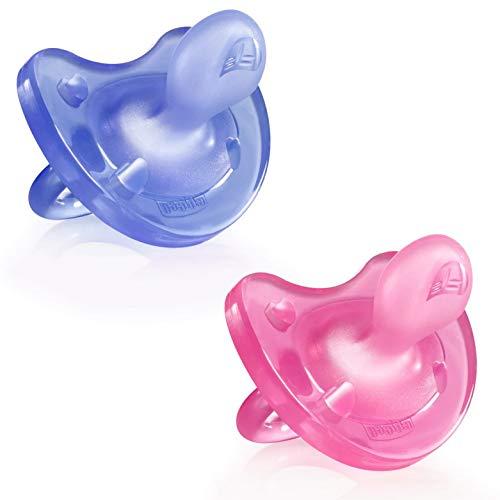 Chicco Physio Soft Chupetes para Bebés de 6 a 16 Meses, 2 Unidades - De Silicona Suave y Delicada que Imita el Pecho Materno, con Orificios de Ventilación y Tetina Physioforma - Rosa y Morado