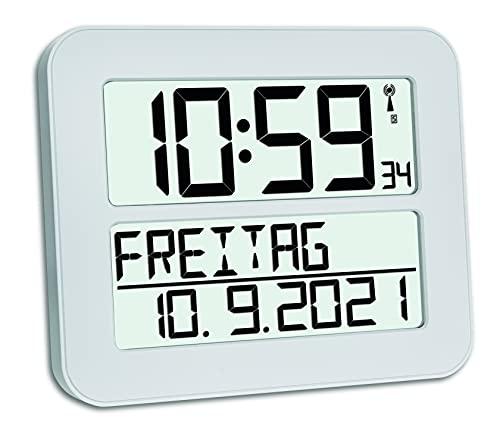 TFA Dostmann TimeLine Max 60.4512.02 zegar sterowany radiowo, zegar ścienny, cyfrowy, z dniem tygodnia i funkcją budzika, kolor biały