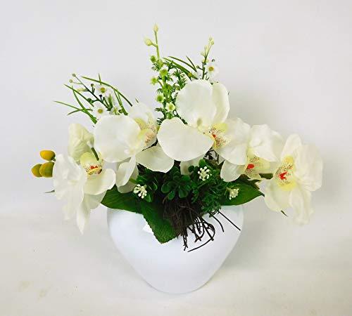 Blumengesteck Orchideengesteck Tischgesteck Tischdeko Orchidee Kunstblume Dekoblume künstlich Kunst Blume unecht Topf 25 x 30 cm (weiß) 116