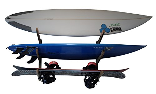 Mensola a muro a tre ripiani | regge 3 tavole da surf | Espositore per tavole da surf | Longboard Shortboard | Wake Board | Kite Board | Snowboard (legno scuro)
