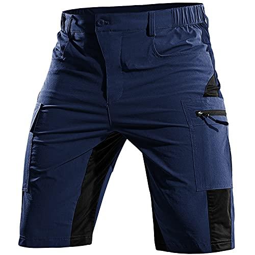 Cycorld MTB Hose Herren Kurz, Atmungsaktiv Mountainbike Hose Herren MTB Shorts Schnelltrocknende Fahrradhose Mountainbike Shorts Bike Shorts Radlerhose (Navy, XL)