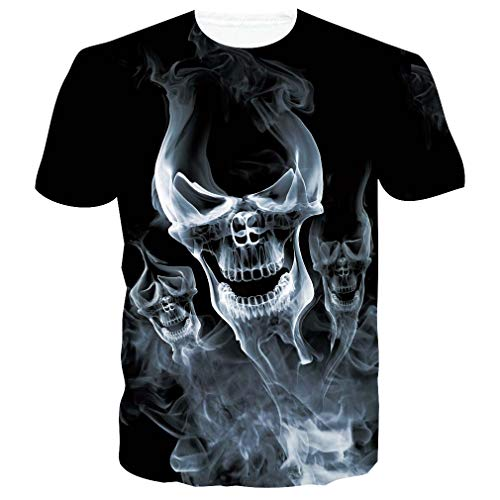RAISEVERN Männer Sommer Kurzarm Cool Printing T-Shirt Rundhals Casual Tee Tops XXL Schwarz Skull