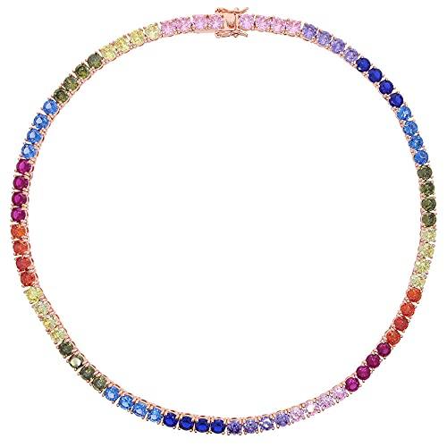 Collar de cadena de tenis arcoíris de 5 mm oro rosa Hip Hop redondo congelado recortado para hombre circonita cúbica joyería para...