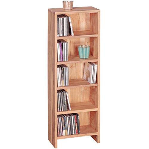 WOHNLING CD rek massief hout acacia staand rek 90 cm hoog CD-opslag 5 Föcher boekenkast donkerbruin landhuisstijl design kantoorplank vrijstaand 4 planken 30 cm breed echt hout natuurproduct