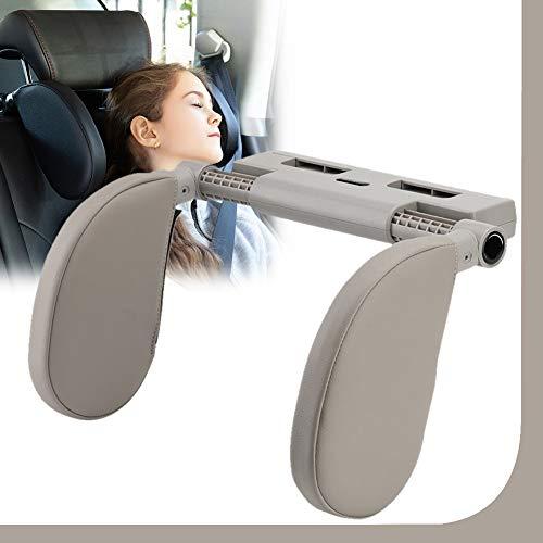 Almohada del Cuello del Coche para Dormir En El Automóvil, Reposacabezas Coche, Head Cushion Neck Protect Pillow Head Rest para Niño Adulto,Gris