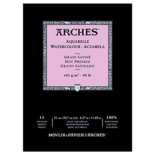 Arches - Bloc De Papel De Acuarela Con 15 Hojas, Grano Satinado, A4