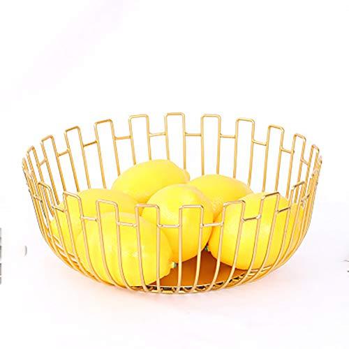 Fruteros de hierro forjado, cesta multilateral de frutas, verduras, bandeja de drenaje para sala de estar, mesa de café, cocina, fácil de limpiar, color dorado