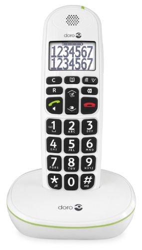 Doro PhoneEasy 110 Teléfono Inalámbrico DECT para Personas Mayores con Teclas Grandes Parlantes, Función de Llamada Interna y Audio Amplificado [Versión Española y Portuguesa] (X 1 / Blanco)