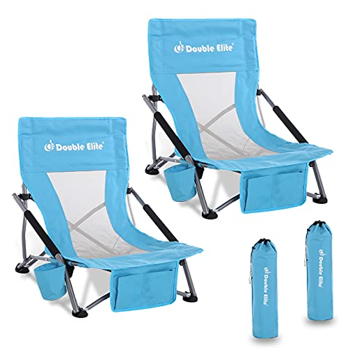 2Pcs Folding Low Sling Beach Chairs with Upgraded Seam...
