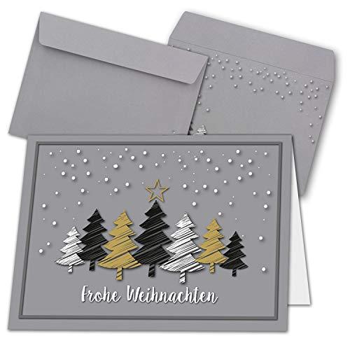 50x Weihnachtskarten-Set DIN A6 in grau mit Weihnachtsbäumen in Scratch-Optik - Faltkarten mit passenden Umschläge - Weihnachtsgrüße für Firmen und Privat