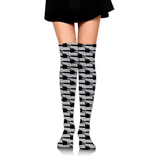 WH-CLA Calf Sock Motosierra Gris Sobre La Rodilla Vestido De Calcetín De Bota Alta Para Mujer Calcetines Altos Hasta El Muslo Novedad Calcetines De Compresión Casual Al Aire Libre Calent