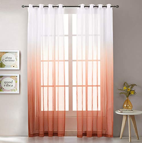 """LoyoLady Orange Sheer Curtains 84 Inches Long Ombre Bedroom Curtains 2 Panel Sets Grommet Window Curtains & Drapes 52"""" W x 84"""" L"""