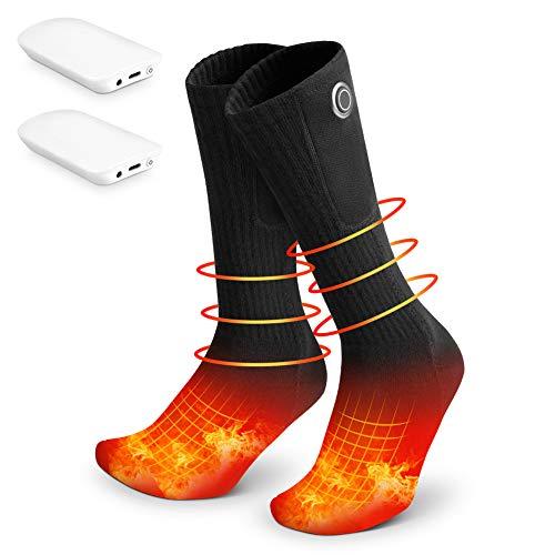 Fasola Chaussette Chauffante Homme Femme, 3.7V 2000mAh Chauffe Pied Electrique avec Rechargeable Batterie Réglages de Chaleur à 3 Niveaux, Lavable Chaussettes pour Cyclisme Ski Randonnée Chasse