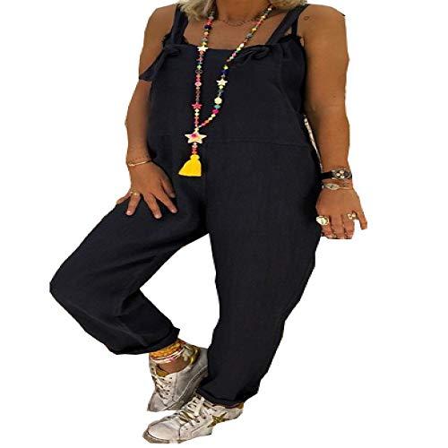 N\P Moda Mujer Ropa Casual Pantalones Sueltos Color Puro Chic Correa Suelta Pantalones Harem Monos