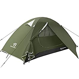 Bessport Camping Tent 1 & 2 & 3 Person Tent Waterproof Two Doors Tent Easy Setup Lightweight for Outdoor, Hiking…