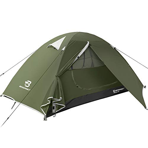Bessport Camping Tent 1 and 2 Person Lightweight Backpacking Tent Waterproof Two Doors Easy Setup Tent for Outdoor, Hiking Mountaineering Travel (2-person-Dark Green)