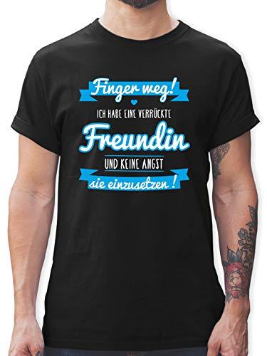 Partner-Look Pärchen Herren - Ich Habe eine verrückte Freundin blau - L - Schwarz - Finger Weg ich Habe eine Freundin - L190 - Tshirt Herren und Männer T-Shirts