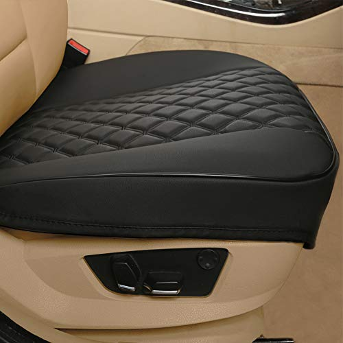 """Black Panther 1 Pair PU Car Seat Covers, Front Seat Protectors Compatible with 90% Vehicles,Diamond Pattern Embroidery, Anti-Slip & Full Wrapping Edge (W 21.26''×D 20.86"""") - Black"""