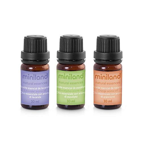 Miniland - Set de 3 aceites esenciales ideales para humidificadores y difusores de ambiente.