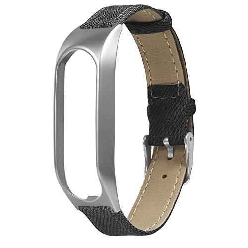 deYukiko Metallgehäuse Durable Denim Retro Gürtel Zubehör für Tomtom Touch Armband Grau und Silber