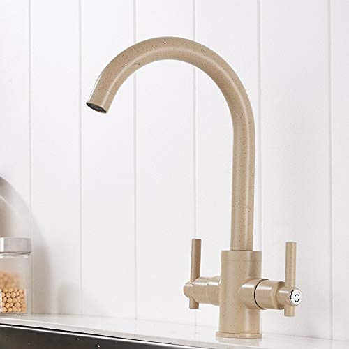 AmzGxp Die duale/Double offene Küchenspüle Wasserhahn Beige Mixer Malen