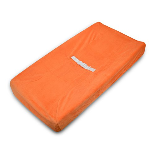 TL Care Heavenly Soft chenille Fitted Contoured Changing Pad Cover, Orange by TL Care