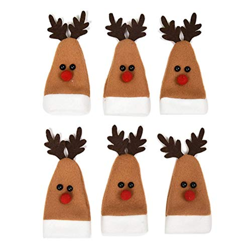 Mrinb 6 PCS/Set niedlicher Santa Wine Bottle Dust Cover Santa Claus Weinflasche Staubdeckel Weihnachtsdekor für Home Dinner Home 14 * 10 * 6CM