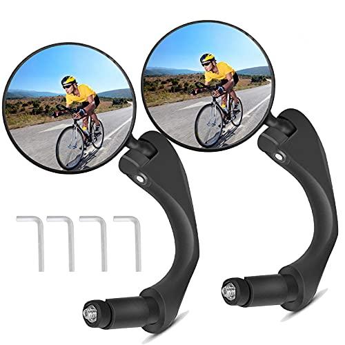 Wenosda Fahrradspiegel Bar End,Fahrradrückspiegel Rückspiegel für Lenker,360° Universal Verstellbar und Drehbar Lenkerspiegel,HD Blendfreier Stoßfest E-Bike und Sicherer Rückspiegel(2 Stück)