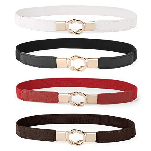 Women Skinny Belt for Dresses Retro Stretch Ladies Waist Belt Plus Size Set of 4(Fits Waist 32-42 Inches,Black+Red+White+Coffee)