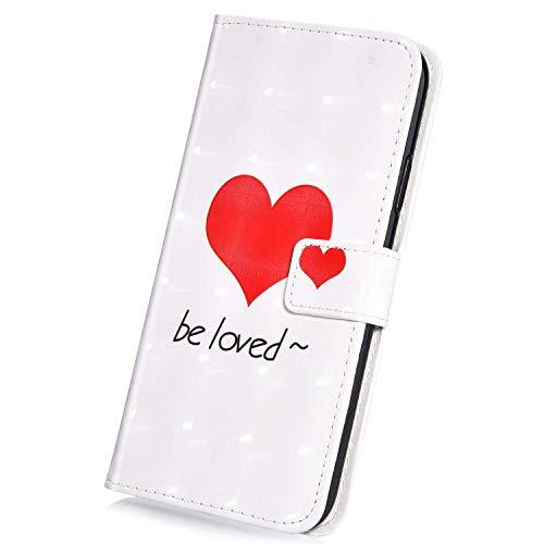 Surakey Compatibile con Cover Samsung Galaxy J3 2016 in PU Pelle 3D Flip Libro Custodia con Funzione di Appoggio Porte Carte Chiusura Magnetica Portafoglio Pieghevole Protettiva Cover,Amare
