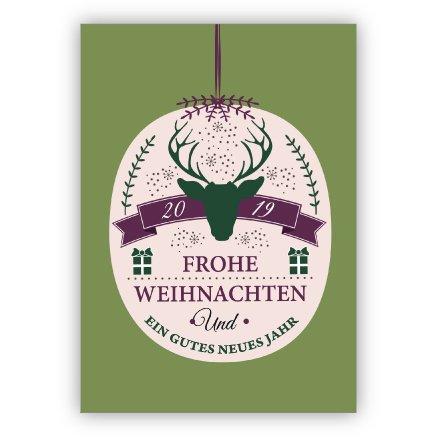 Elegante typografische kerstkaart met hert in kerstbal, groen: 2019 Frohe Kerstmis en een goed nieuw jaar • Kerstwenskaarten set met envelop voor Kerstmis, Nieuwjaar, oudejaar voor familie, vrienden 4 Weihnachtskarten