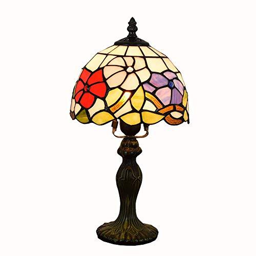 OWOC Led-tafellamp, pastorale Europese stijl Tiffany Shade kantoor slaapkamer bij zonsondergang aan het ziekenbed van E27 Creatieve Ruhm Huis in glazen lamp 8-inch 220V