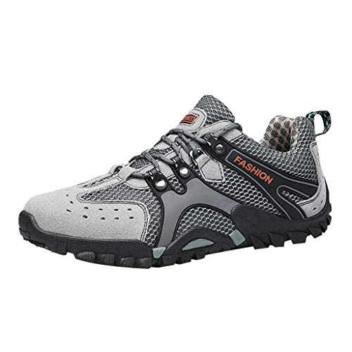 FRENDLY Men's Casual Sneakers Non-Slip Wear-Resistant Travel Shoes Mesh Hiking Shoes Waterproof Low Shoe Grey