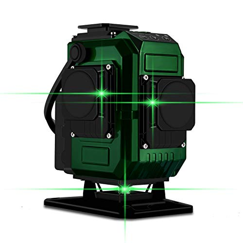Kreuzlinienlaser 25M, Careslong 3 x 360 grüner Laserpegel selbstausgleichende, grüner Strahl 3D 12 Linien, IP 54 Selbstnivellierende Vertikale und Horizontale Linie (inklusive 2pcs 8000mAh Batterie)