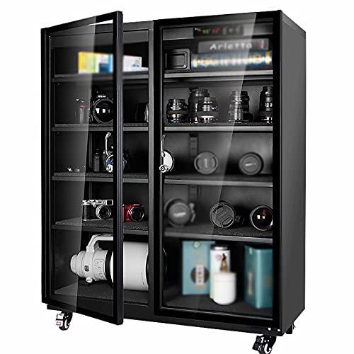Gabinete de secado electrónico - Ahorro de energía sin ruido con bloqueo de seguridad y luz LED Cámara de gran capacidad Deshumidificación Lente de cámara y almacenamiento de equipo electrónico
