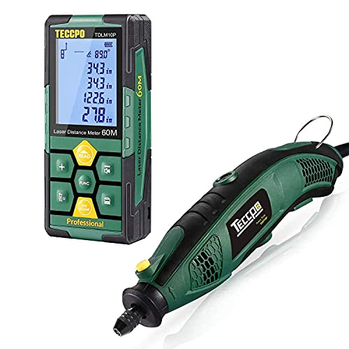 TECCPO Rotary Tool Kit 1.5 amp, 6 Variable Speed with Flex Shaft, 84 Accessories + Laser Distance Measure, Rechargeable, 196ft, Digital Laser Measurement Tool, 99 Sets Data Storage