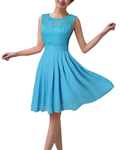 ZANZEA Damen Spitze Ärmellos Party Club Kurz Slim Abend Brautkleid Cocktail Ballkleid Blau EU 40/US 8