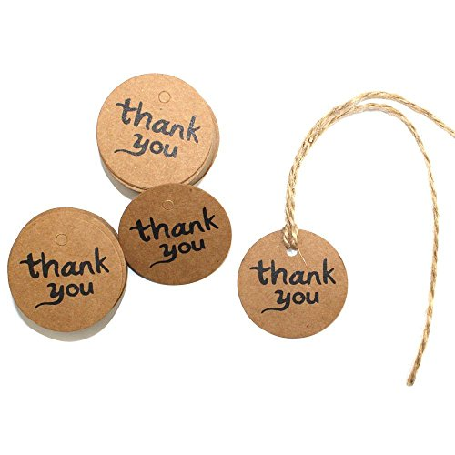DECORA 100 Pieces Thank You Brown Kraft Paper Tags Bonbonniere Favor Gift Tag Labels with Jute Twines