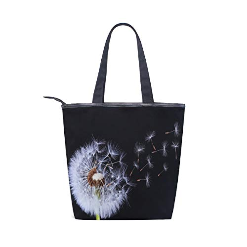 BKEOY Große Handtasche mit Pusteblumen-Motiv, Einkaufstasche mit Reißverschluss