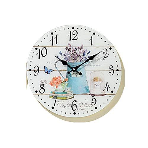 Tamia-Home Wanduhr Isla Glasuhr D34cm Wanddekoration Uhr Bilderuhr Glasbilder (Blaue Kanne)