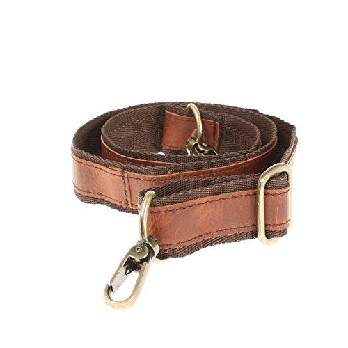 LECONI Trageriemen Leder Nylon Schulterriemen breiter Schultergurt für Taschen Umhängegurt längenverstellbar 4x150cm braun LEC-R2