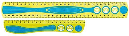 Set Maped stossfestes Lineal KIDY'GRIP Kinderlineal 20cm und 30cm aus recyceltem Plastik, mit Anti-Rutsch-Noppen türkis gelb