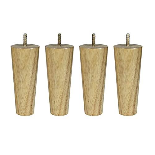 Patas para muebles 15 cm altura de madera de madera de caucho muebles de madera patas M8 Hilo Reemplazo para silla de gabinete Cama de tablas de mesa Paquete de pies de 4 ( Color : Oblique cone 15CM )