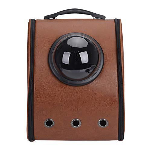 FHDFH Mochila portátil de Viaje para Mascotas, diseño de Burbujas de cápsula Espacial, Mochila Impermeable para Gatos y Perros pequeños, Mochila para Mascotas aprobada por la aerolínea,Marrón