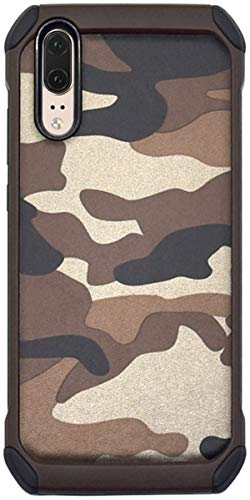 Case kompatibel Huawei P30 / P30 Pro, TPU + Hart PC 2-in-1 Military Tarnmuster Camouflage Hülle Robust 360-Grad Stoßfest Anti-Fall Schutzhülle Handyhülle kompatibel Huawei P30 Lite (Brown, P30 Pro)