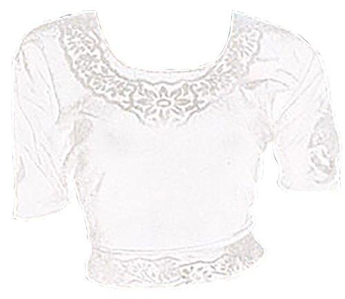 Trendofindia Trendofindia Weiß Choli (Sari Oberteil) Samt Gr. 36 / Gr. S ideal für Bauchtanz