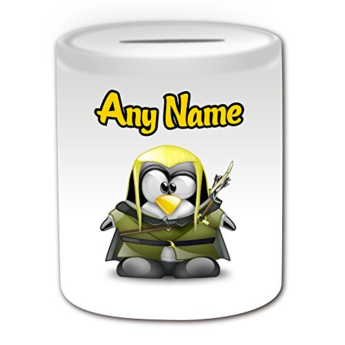 Personalised Gift - Legolas Money Box (Penguin Film Character Design Theme, White) - Any Name / Message on Your Unique - Saving Piggy Bank - Costume Movie Superhero Hero The Hobbit Lord of Rings Sindar Elf Woodland Realm Fellowship