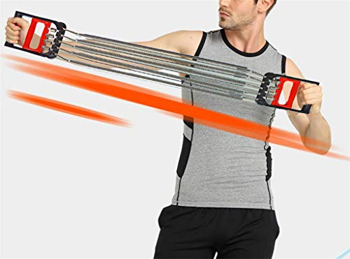 EGCLJ Chest Expander Arm Blaster Resistance Bands Adjustable 5 Spring Back Press Machines Strength Trainer Exercise Men Women Fitness Muscle Gym Equipment Workout Home Travel Outdoor Gift (Red)