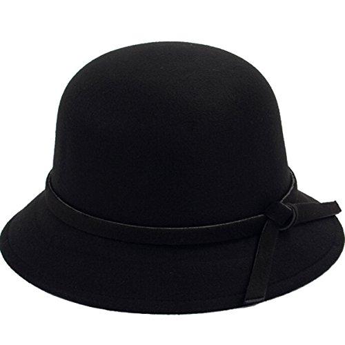 ZUMUii ZUMUii Butterme Frauen Dame Vintage Wool Round Fedora Bogen Cloche Derby Hüte Eimer Hüte (Schwarz)